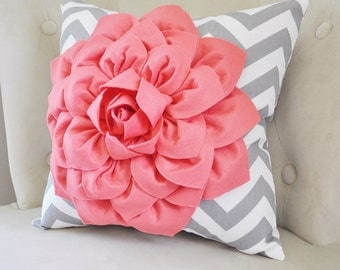 Coral Pillow Cover - Throw Pillow - Decorative Pillows - Coral Accent Pillow - Throw Pillows - Coral Flower Pillow - Light Coral Sham