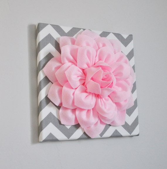 "Wall Art -Light Pink Dahlia on Gray and White Chevron 12 x12"" Canvas Wall Art- Baby Nursery Wall Decor-"