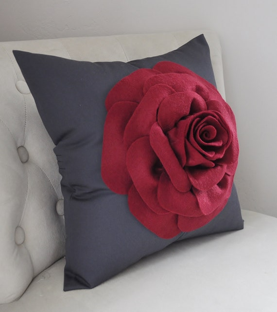 Gray Pillow Cover, Dark Gray, Charcoal, Ruby Red Rose Pillow,  Grey Pillow, Pillow Sham, Throw Pillow, Bedroom, Living Room Dorm Flower