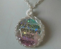 I pole dance what's your super power pendant, pole dance necklace, rainbow, glitter, gem pendant, pole jewellery