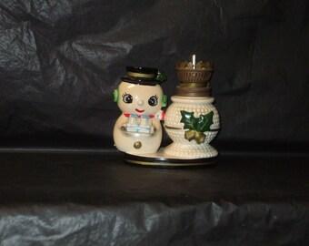 Vintage Japan ADORABLE Christmas Snowman Oil Lamp