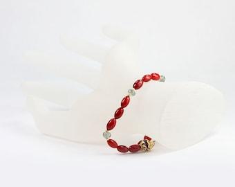 Red Coral Moss Aquamarine Gold Beaded Gemstone Bracelet