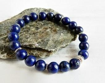 Blue Lapis Bracelet Lapis Lazuli Bracelet Navy Stretch Bracelet Dark Blue Stone Beaded Bracelet Cobalt Stackable Layer Antique Silver Gift