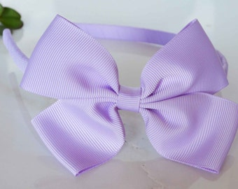 Girl, toddler, baby, rigid lilac lavender hair band with bow 4 inch bow comfortable flexible band