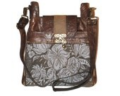 "Medium Crossbody Printed Distressed Toffee Leather bag Ready to Ship "" The Madrid"""