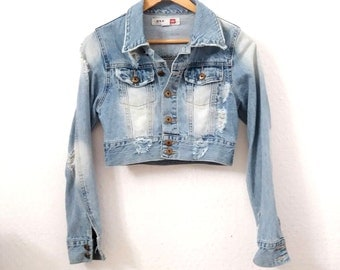 Distressed Denim Cropped Jacket.