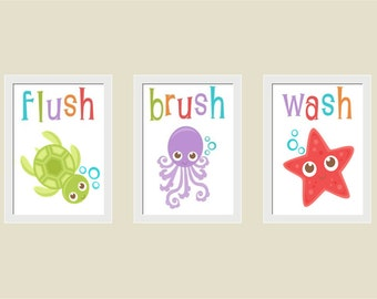 Ocean Animals Bathroom Prints, Nursery, Playroom, Kid's Room Wall Art, Set of 3