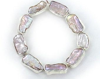 STERLING RIMMED  ROSE Biwa Pearls 16x10mm 10 Pcs NewWorldGems