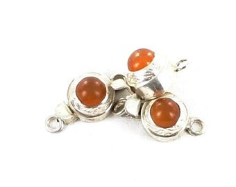 Orange Chalcedony Clasp Sterling Round Asianbeads