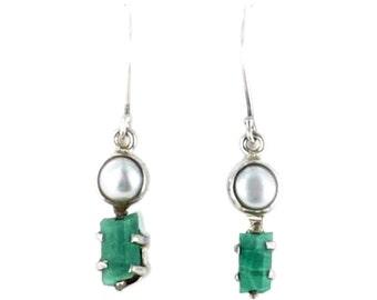Emerald Crystal Pearl Earrings Sterling #1