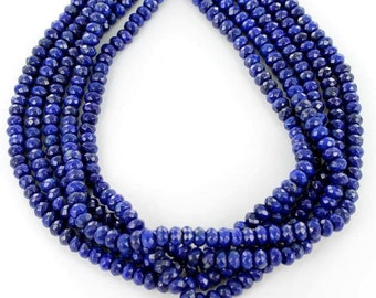 "FACETED LAPIS Rondelle Beads 8mm 16"" NewWorldGems"