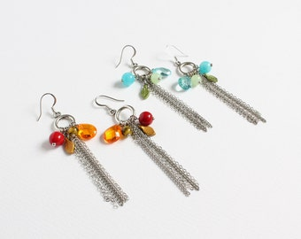 Long Tassel Earrings with Assorted Beads (2 colors available)