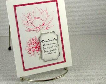 Sympathy Card Handmade Empathy Lotus Subtle Pink Sketched Flower Christian Sympathy Card Comfort Blessings