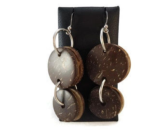 Brown Coconut Shell Earrings Wood and Metal Dangles, Grey and Brown Coconut Earrings Sterling Silver Earwires, Coconut Jewelry Brown and Tan