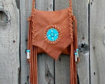 Fringed leather handbag , Beaded ceremony bag , powwow bag , four directional beadwork , beaded eagle feathers