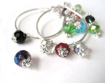 Interchangeable Earrings - Silver Hoop Earring With Charms - Crystal Hoop Earrings - Customizable Jewelry - Beaded Hoop Earrings