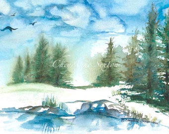ORIGINAL Watercolour Winter Landscape Trees water reflections rocks cold freezing wintertime  - Pine Forrest Woodland Trees 7x11