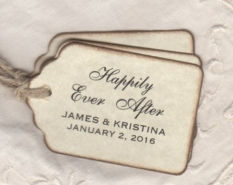 50 Personalized Happily Ever After Wedding Favor Gift Tags / Shower Favor Thank You Labels Hang Tags - Rustic Vintage Style