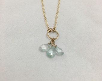 Clustered Aquamarine Necklace