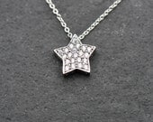 CZ Silver Star Necklace, sterling silver star necklace, white gold plated star necklace
