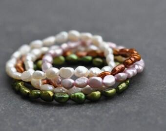 freshwater pearl stretch bracelet, stretch stacking bracelet, natural freshwater pearl bracelet