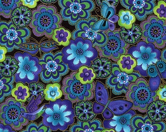 Dog and Doggies Aqua Blue Floral Metallic - Laurel Burch - Clothworks - 1 yard - More Available - BTY