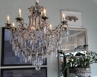 Italian antique style brass 8 arms basket chandelier, glass crystal chandelier MADE IN ITALY