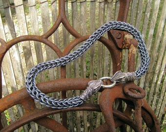 Matte Grey Chainmaille Snake Torc