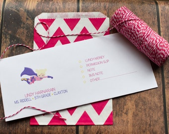 Personalized School Money Envelope for Money and Notes - Girls Super Hero Design - Personalized School Envelopes - Girls Superhero Design