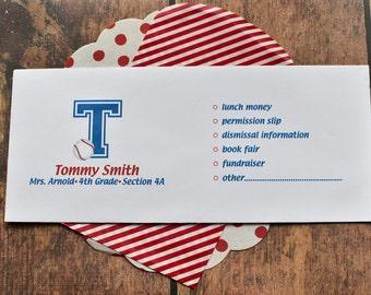 Personalized School Money Envelope for Money and Notes - Baseball Fan Envelope Design - Personalized School Envelopes - Baseball Envelope