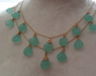 Double Chalcedony necklace