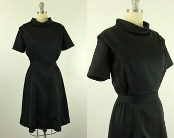 1950's Black Dress M L Vogue Paris Originals