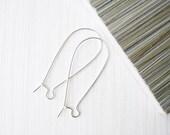 Large Sterling Silver Kidney Earwires Ear Wires, 40mm, Nickel Free Metal, Destash, Earring Findings, 925