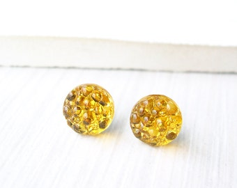 Mustard Yellow Post Earrings - Titanium Studs, Simple Jewelry, Glass, Fall, Autumn