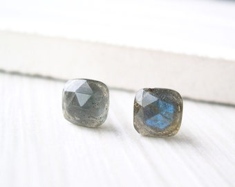 Labradorite Post Earrings - Nickel Free Titanium Gemstone Studs, Cushion, Rose Cut, Faceted, Simple, Stone Jewelry