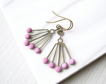 Pink Chandelier Earrings - Art Deco, Brass Drop, Rhinestone Jewelry, Mauve, Dangle, Vintage Swarovski, Gold Toned