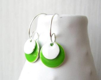 Lime Green Earrings, Silver Hoops, Simple Jewelry, Modern, Enamel, White, Geometric, Drop, Colorful