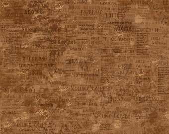 Coffee House by Sue Zipkin for Clothworks - Full or Half Yard Coffee Words and Ads on Brown