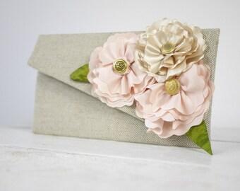 Linen clutch, Wedding clutch, Bridesmaid clutch