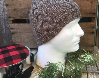 Men's Cable Knit Hat, Men's Knit Beanie, Knitting Hat, Knitting Beanie, Cable Knit Beanie, Brown and White Marled, Men's Hat, Men's Beanie