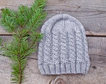 Women's Hat, Cable Knit Hat, Women's Beanie, Cable Knit Beanie, Grey Hat, Grey Beanie, Winter Hat, Gray Hat, Gray Beanie, Winter Accessoires