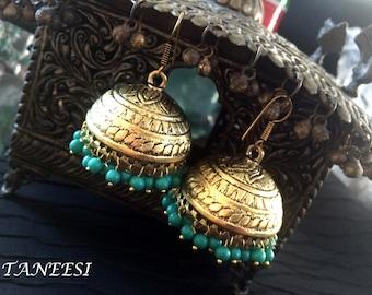 Bollywood Jhumka Earrings,Large Gold Jhumkas,Turquoise Jewelry,Ethnic Earrings,Tribal Chandelier Earrings by Taneesi Jewelry