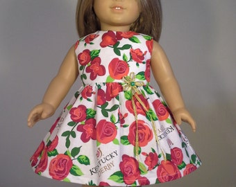 18 inch Doll Clothes Colorful Circle of Red Roses Kentucky Derby Print Dress fits American Girl Doll Clothes