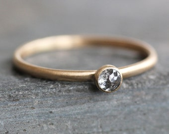 Rose Cut Blue-Gray Diamond Ring -14K Solid Gold Band - 3mm Conflict Free Natural Diamond