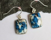 Blue - Beautiful Natural Azurite and Quartz Sterling Silver Earrings