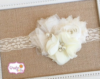 Ivory Headband, Ivory Flower Headband, Flower Girl Headband, Cream Lace Headband, Photo Prop, Ivory Lace Headband, Cream Headband