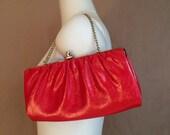 mod Valentine  60's vintage red patent leather clutch/ purse/ tote / handbag