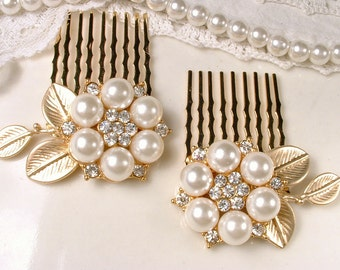 Pearl Bridal Hair Comb PAIR, Gold Pearl Rhinestone Hairpiece, Small Leaf Flower Wedding Hair Clips, Vintage Modern, Rustic Country Romantic