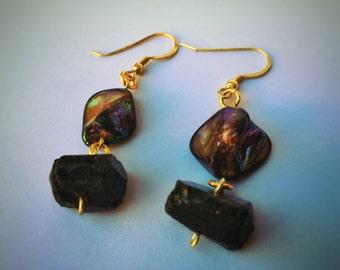 Pearls tourmaline earrings