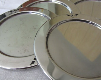 Vintage Set of Four Stainless Steel Coasters